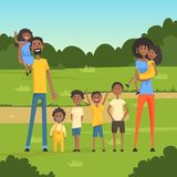 Happy black family with many children in the park flat vector illustration Royalty Free Stock Photography