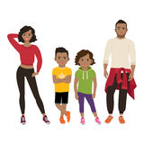 Happy black family in sport style Stock Photos