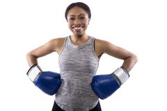 Happy Black Female Wearing Boxing Gloves royalty free stock photos