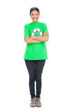 Happy black haired model wearing recycling tshirt Stock Photography