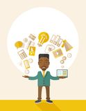 Happy Black man enjoying doing multitasking Stock Photo