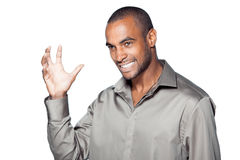Happy black man waving Stock Photo