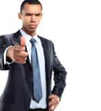 Happy black recruitment concept with an african businessman Royalty Free Stock Image