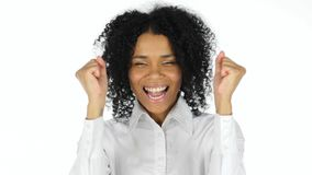 Happy Black Woman Celebrating Success stock photos