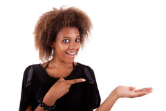 Happy black Woman Showing Your Produc Royalty Free Stock Photos