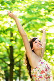 Happy blissful woman on spring season Royalty Free Stock Photos