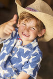 Happy Blond Boy Child Cowboy Hat Star Shirt Stock Photography