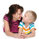 Happy blond boy with his mother Stock Photography