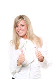Happy blond buisinesswoman with thumbs up Stock Photo