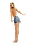 Happy blond in denim skirt Stock Images