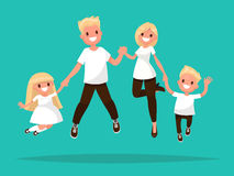 Happy blond  family is jumping. Vector illustration. Of a flat design Royalty Free Stock Photos