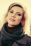 Happy blond fashion woman outdoor Royalty Free Stock Photo
