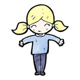Happy blond girl cartoon Royalty Free Stock Image