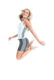 Happy blond jumping. Jeanne-Marie jumping with joy in her gym outfit 4 Royalty Free Stock Image