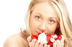 Happy blond in spa with red an Royalty Free Stock Photo