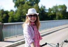 Happy blond woman with cowboy's hat Royalty Free Stock Photo