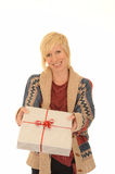 Happy blond woman with gift Royalty Free Stock Photos