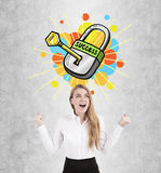 Happy blond woman and key to success Stock Photography