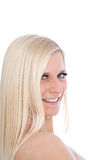 Happy Blond Woman Looking Sideways Stock Images