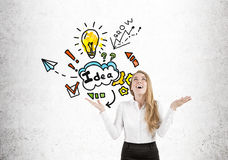Happy blond woman and motivation icons Stock Image