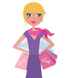 Happy blond woman on shopping in the city. Elegant woman with shopping bags in the city. Vector fashion illustration Stock Photos