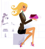Happy blond woman shopping in mall. Cute blond girl in shopping center / mall. Vector Illustration Royalty Free Stock Image