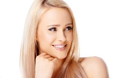 Happy blond woman smiling stock photography