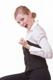 Happy blonde businesswoman with success hand sign. Business. Happy businesswoman with success hand sign gesture. Blonde girl winner. Business. Isolated on white Royalty Free Stock Images