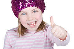 Happy Blonde Child with her Thumb Up Stock Images