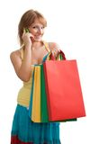 Happy blonde customer chattering Royalty Free Stock Photography