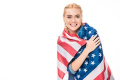 Young woman with us flag Stock Images
