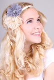 Happy blonde girl with headbands Stock Photo