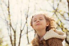 Happy blonde girl outdoor Stock Images