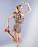 Happy blonde girl posing royalty free stock photo
