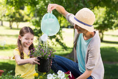 Happy blonde and her daughter gardening stock photography