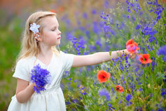 Happy blonde little girl wearing white dress gathers a bouquet o. F wild blue flowers for mom Stock Photo