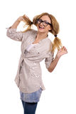 Happy blonde model with glasses Stock Photos
