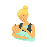 Happy blonde mother holding her bonded baby and feeding with milk bottle colorful vector Illustration. On a white background Royalty Free Stock Photos