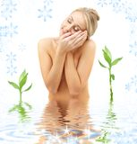 Happy blonde in spa Stock Image