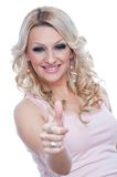 Happy blonde with thumbs up Royalty Free Stock Photography