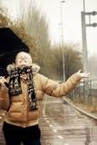 Happy blonde under rain Stock Photos