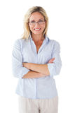 Happy blonde wearing reading glasses Stock Photos