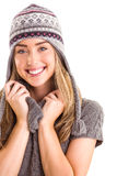 Happy blonde in winter clothes posing Stock Images