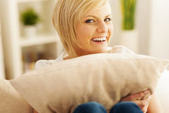 Happy blonde woman Royalty Free Stock Images