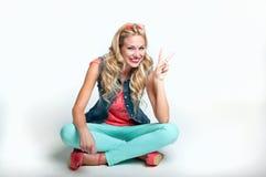 Happy blonde woman stock photo