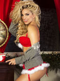 Happy blonde woman, christmas time. Stock Photography