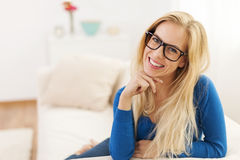 Happy blonde woman Royalty Free Stock Image