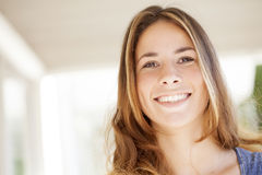 Happy blonde woman portrait. Happy young blonde woman portrait smiling Royalty Free Stock Image