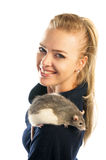 Happy blonde woman with a rat on her shoulder  on white background Royalty Free Stock Photography
