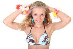 Happy blonde woman in swimwear Stock Photography